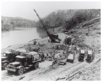 Construction of water pumping plant on river
