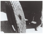 Automobile tire with a large hole