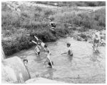 Children playing in a swimming hole off East Drive
