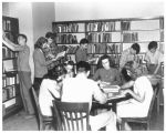 Students in the high school library