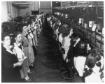 Telephone switchboard operators changing work shifts