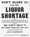 Liquor shortage