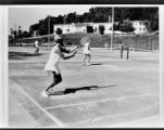 Tennis players at Jackson Square courts