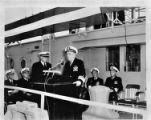 Vice Admiral Elton W. Grenfell speaks at U.S.S. Oak Ridge commissioning